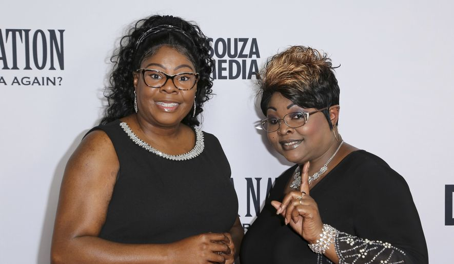 """Lynnette Hardaway, left, and Rochelle Richardson, a.k.a. Diamond and Silk, arrive at the LA Premiere of """"Death of a Nation"""" at the Regal Cinemas at L.A. Live on Monday, July 31, 2018, in Los Angeles. (Photo by Willy Sanjuan/Invision/AP) ** FILE **"""