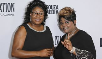 """Lynnette Hardaway, left, and Rochelle Richardson a.k.a. Diamond and Silk arrive at the LA Premiere of """"Death of a Nation"""" at the Regal Cinemas at L.A. Live on Monday, July 31, 2018, in Los Angeles. (Photo by Willy Sanjuan/Invision/AP)"""