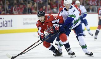 Vancouver Canucks center Elias Pettersson, right, of Sweden, battles for the puck against Washington Capitals center Travis Boyd, left, during the first period of an NHL hockey game, Tuesday, Feb. 5, 2019, in Washington. (AP Photo/Nick Wass)