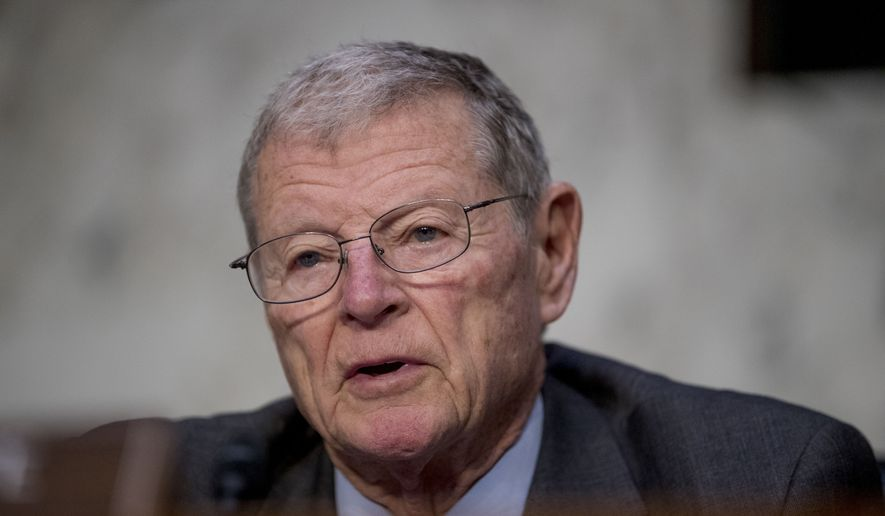 Chairman Sen. Jim Inhofe, R-Okla., speaks as U.S. Central Command Commander Gen. Joseph Votel appears before a Senate Armed Services Committee hearing on Capitol Hill, Tuesday, Feb. 5, 2019, in Washington. (AP Photo/Andrew Harnik) ** FILE **