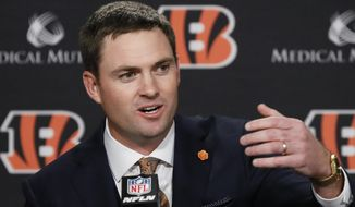 Cincinnati Bengals football head coach Zac Taylor speaks during a news conference, Tuesday, Feb. 5, 2019, in Cincinnati. After 16 years without a playoff win under Marvin Lewis, the Bengals decided to try something different. But they had to wait more than a month before hiring Zac Taylor as their next coach in hopes of ending a long streak of futility. (AP Photo/John Minchillo)