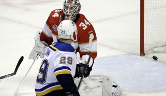 St. Louis Blues defenseman Vince Dunn (29) scores the game-winning goal against Florida Panthers goaltender James Reimer (34) during the third period of an NHL hockey game, Tuesday, Feb. 5, 2019, in Sunrise, Fla. St. Louis won 3-2. (AP Photo/Lynne Sladky)