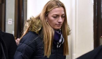 Czech tennis player Petra Kvitova leaves the Regional Court in Brno after giving a testimony during a trial with a man who is suspected of attacking her on Tuesday, Feb. 5, 2019. The burglar wounded Kvitova's hand with a knife and robbed her in her flat in Prostejov, 230 kilometres (143 miles) South East od Prague, in December 2016. (Vaclav Salek/CTK via AP) ** SLOVAKIA OUT **