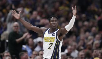 Indiana Pacers guard Darren Collison (2) celebrates during the first half of an NBA basketball game against the Los Angeles Lakers in Indianapolis, Tuesday, Feb. 5, 2019. (AP Photo/Michael Conroy)