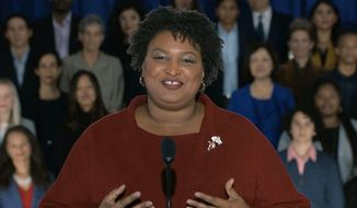 In this pool image from video, Stacey Abrams delivers the Democratic party's response to President Donald Trump's State of the Union address, Tuesday, Feb. 5, 2019, from Atlanta. (Pool video image via AP) ** FILE **