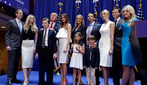 A photo taken in 2015, shows then-candidate Donald Trump and much of his family, shortly after he announced his intent to run for president. (Associated Press)