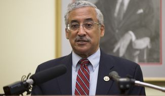 In this file photo from May 2016, Rep. Bobby Scott, D-Va., then the ranking member on the House Education and the Workforce Committee, speaks during a news conference on Capitol Hill in Washington, Tuesday, May 17, 2016. Now serving as chairman of the House Education and Labor Committee, Mr. Scott introduced a plan on Oct. 15, 2019, that he says will lower college costs for students and families, and open up better refinancing options for those currently paying back their student loans.  (AP Photo/Evan Vucci) **FILE**