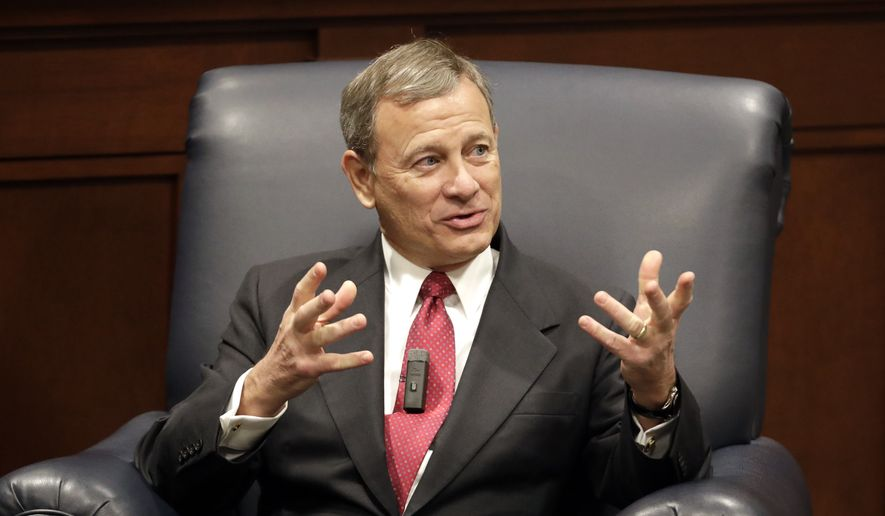 Supreme Court Chief Justice John Roberts answers questions during an appearance at Belmont University Wednesday, Feb. 6, 2019, in Nashville, Tenn. (AP Photo/Mark Humphrey)