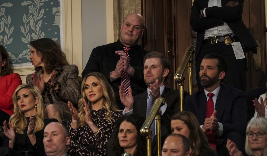 President Donald Trump gives his State of the Union address to a joint session of Congress, Tuesday, Feb. 5, 2019 at the Capitol in Washington, as Ivanka Trump, Lara Trump, Eric Trump and Donald Trump Jr. look on. (Doug Mills/The New York Times via AP, Pool)