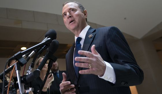 House Intelligence Committee Chairman Adam Schiff, D-Calif., speaks with reporters after his panel voted in a closed session to send more than 50 interview transcripts from its now-closed Russia investigation to special counsel Robert Mueller, on Capitol Hill in Washington, Wednesday, Feb. 6, 2019. Two associates of President Donald Trump have been charged with lying to the committee and Schiff said Mueller should consider whether additional perjury charges are warranted. (AP Photo/J. Scott Applewhite)