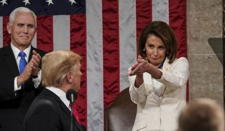President Donald Trump turns to House speaker Nancy Pelosi of Calif., as he delivers his State of the Union address to a joint session of Congress on Capitol Hill in Washington, as Vice President Mike Pence watches, Tuesday, Feb. 5, 2019.   (Doug Mills/The New York Times via AP, Pool) **FILE**