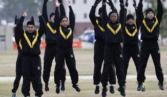 In this Jan. 8, 2019, photo,  U.S Army troops in training to become instructors, participate in the new Army combat fitness test at the 108th Air Defense Artillery Brigade compound at Fort Bragg, N.C. The new test is designed to be a more accurate test of combat readiness than the present requirements. (AP Photo/Gerry Broome)