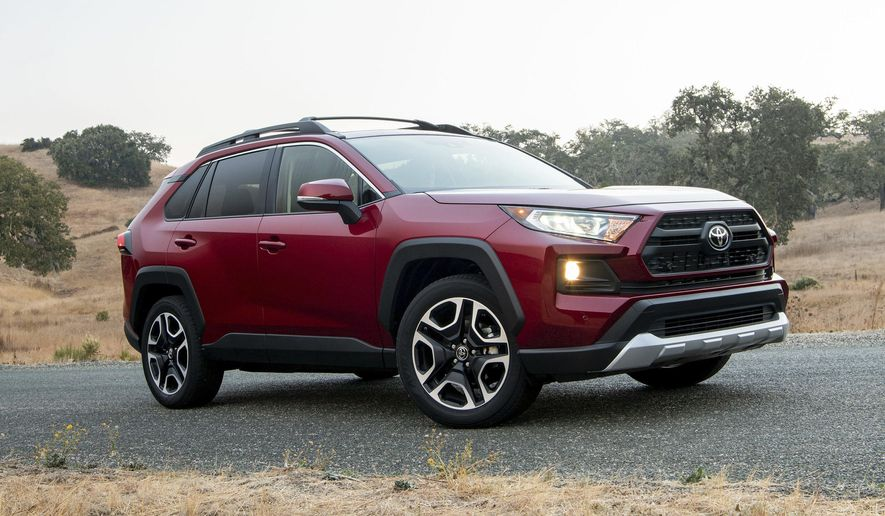 This undated photo provided by Toyota shows the 2019 Toyota RAV4. Two of the best-selling small SUVs on the market today are the Honda CR-V and the Toyota RAV4. (Toyota Motor Sales U.S.A. via AP)