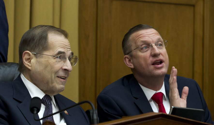 House Judiciary Committee Chairman Jerrold Nadler D-N.Y., left, speaks with Ranking Member Doug Collins, R-Ga., during a House Judiciary Committee hearing on gun violence, at Capitol Hill in Washington, Wednesday, Feb. 6, 2019. (AP Photo/Jose Luis Magana) ** FILE **