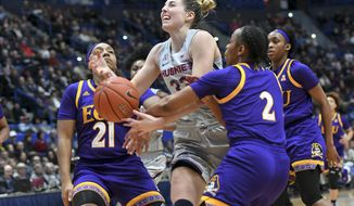 Connecticut's Katie Lou Samuelson (33) is fouled in the first half of an NCAA college basketball game against East Carolina Wednesday, Feb. 6, 2019 in Hartford, Conn. (AP Photo/Stephen Dunn)