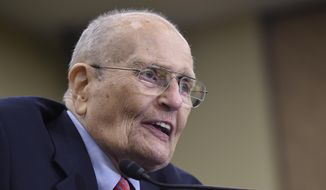 In this July 29, 2015, file photo, former Rep. John Dingell, D-Mich., speaks at an event marking the 50th Anniversary of Medicare and Medicaid on Capitol Hill in Washington. A person familiar with the situation says Dingell, the longest-serving member of Congress in American history, is receiving hospice care. His wife, U.S. Rep. Debbie Dingell, tweeted Wednesday morning, Feb. 6, 2019, that she was with him at their Michigan home. (AP Photo/Susan Walsh)