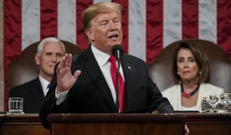 President Donald Trump gives his State of the Union address to a joint session of Congress, Tuesday, Feb. 5, 2019 at the Capitol in Washington, as Vice President Mike Pence, left, and House Speaker Nancy Pelosi look on. (Doug Mills/The New York Times via AP, Pool)