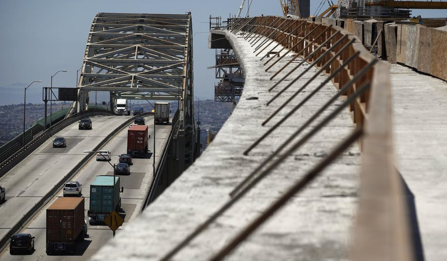 In this July 2, 2018, file photo, traffic moves on the old Gerald Desmond Bridge next to its replacement bridge under construction in Long Beach, Calif. (AP Photo/Jae C. Hong, File)  **FILE**