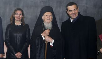 "Greece's Prime Minister Alexis Tsipras, right, his partner Betty Baziana, left, and Ecumenical Patriarch Bartholomew I pose for the photographers during their visit at the Theological School of Halki, in Heybeli Island, near Istanbul, Wednesday, Feb. 6, 2019. The president of Turkey and the prime minister of Greece agreed Tuesday on the need to keep ""channels of dialogue"" open between their countries, which have come to the brink of war three times since the early 1970s and remain divided over an array of issues. (AP Photo/Emrah Gurel)"