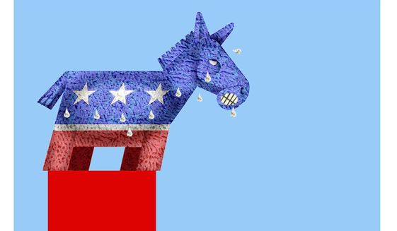 Illustration on the problems for Democrats of rising liberalism by Alexander Hunter/The Washington Times