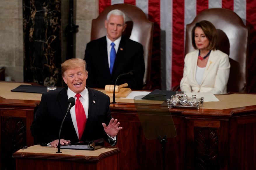 President Donald Trump delivers his State of the Union address to a joint session of Congress on Capitol Hill in Washington, Tuesday, Feb. 5, 2019. (AP Photo/Carolyn Kaster)