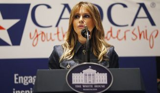 First lady Melania Trump speaks at the Community Anti-Drug Coalitions of America (CADCA) National Leadership Forum, in National Harbor, Md., Thursday, Feb. 7, 2019. (AP Photo/Jacquelyn Martin) First Lady Melania Trump participates in a policy briefing at the Office of National Drug Control Policy, Thursday, Feb. 7, 2019, in Washington. (AP Photo/Jacquelyn Martin)