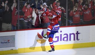 Washington Capitals center Evgeny Kuznetsov (92), of Russia, celebrates his winning goal in overtime of an NHL hockey game against the Colorado Avalanche, Thursday, Feb. 7, 2019, in Washington. (AP Photo/Nick Wass)