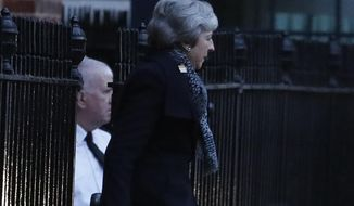 Britain's Prime Minister Theresa May leaves 10 Downing Street, in London, Thursday, Feb. 7, 2019, travelling to join an EU meeting in Brussels. Theresa May plans to meet with European leaders in Brussels on Thursday seeking changes to the so called Irish backstop, before Britain leaves the EU on upcoming March 29. (AP Photo/Frank Augstein)