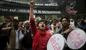 """Indian students from various student organizations participate in a protest rally in New Delhi, India, Thursday, Feb. 7, 2019. The march called the """"Young India Adhikaar March,"""" or Young India Rights March, was held to demand the government address the problem of unemployment. (AP Photo/Altaf Qadri)"""