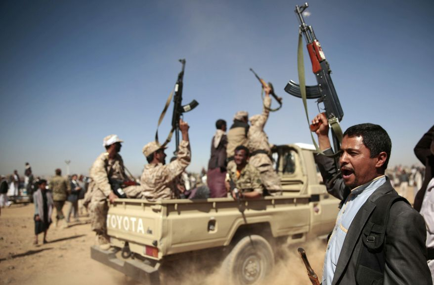 Tribesmen loyal to Houthi rebels chant slogans during a gathering aimed at mobilizing more fighters into battlefronts to fight pro-government forces, in Sanaa, Yemen. (AP Photo/Hani Mohammed, File)