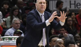 Chicago Bulls coach Jim Boylen gestures to his team during the second half of an NBA basketball game against the New Orleans Pelicans on Wednesday, Feb. 6, 2019, in Chicago. The Pelicans won 125-120. (AP Photo/David Banks)
