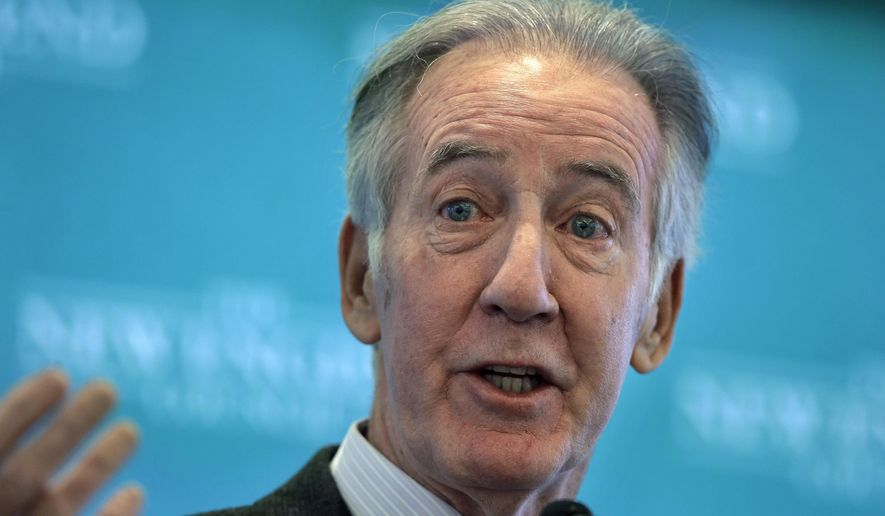 In this Nov. 27, 2018, file photo, Rep. Richard Neal, D-Mass., then incoming chairman of the House Ways and Means Committee, addresses an audience during a gathering of business leaders in Boston. The Democrats tried and failed several times to obtain Trump's returns as the minority party in Congress. Their newly energized leftward wing is pushing the chairman of the powerful House Ways and Means Committee, Rep. Richard Neal, D-Mass., to set the quest in motion, and fast.  (AP Photo/Steven Senne)