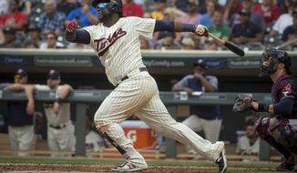 FILE - In this Aug. 1, 2018, file photo, Minnesota Twins' Miguel Sano bats against the Cleveland Indians in the seventh inning of a baseball game, in Minneapolis. One of the first things on manager Rocco Baldelli's to-do list was to travel to the Atlanta area and the Dominican Republic to start getting to know Byron Buxton and Sano.  (AP Photo/Bruce Kluckhohn, File)