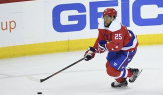 Washington Capitals right wing Devante Smith-Pelly (25) skates with the puck during the third period of an NHL hockey game against the Colorado Avalanche, Thursday, Feb. 7, 2019, in Washington. The Capitals won 4-3 in overtime. (AP Photo/Nick Wass) ** FILE **