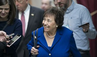 In this Feb. 6, 2019, photo House Appropriations Committee Chair Nita Lowey, D-N.Y., head of the bipartisan group of House and Senate bargainers trying to negotiate a border security compromise in hope of avoiding another government shutdown, walks with reporters to a Democratic Caucus on Capitol Hill in Washington. (AP Photo/J. Scott Applewhite)