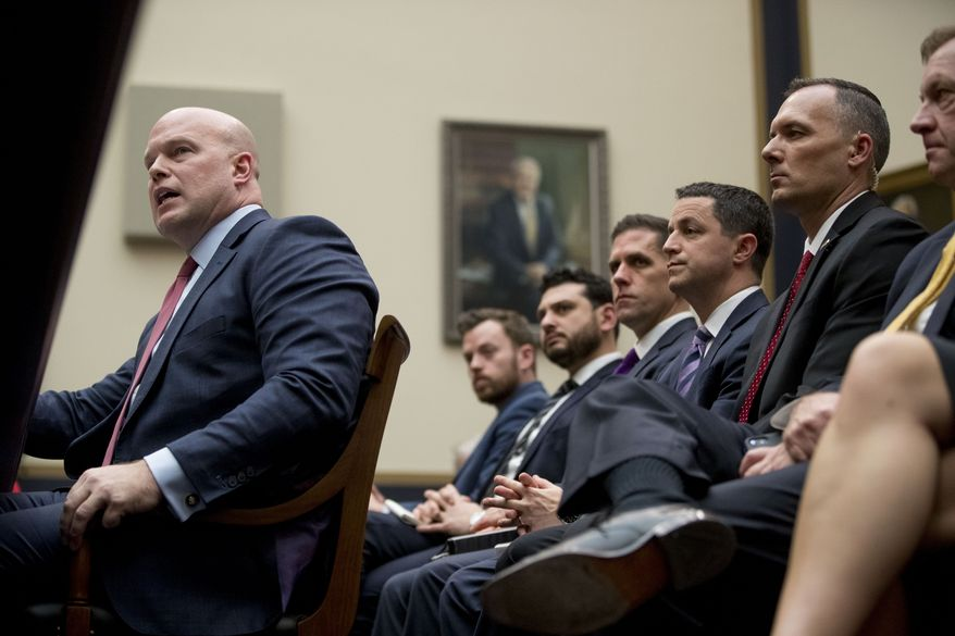 Acting Attorney General Matthew Whitaker speaks during a House Judiciary Committee hearing on Capitol Hill, Friday, Feb. 8, 2019, in Washington. Democrats are eager to press him on his interactions with President Donald Trump and his oversight of the special counsel's Russia investigation. (AP Photo/Andrew Harnik)