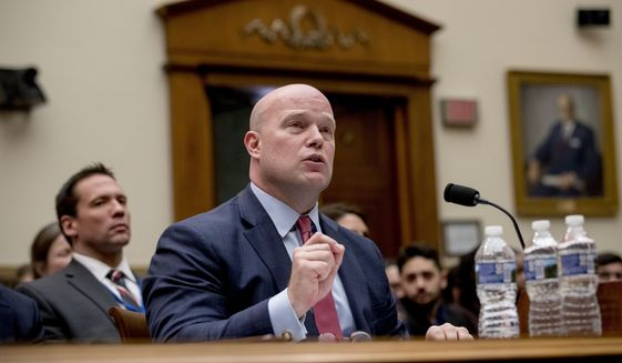 Acting Attorney General Matthew Whitaker speaks during a House Judiciary Committee hearing on Capitol Hill, Friday, Feb. 8, 2019, in Washington. (AP Photo/Andrew Harnik)