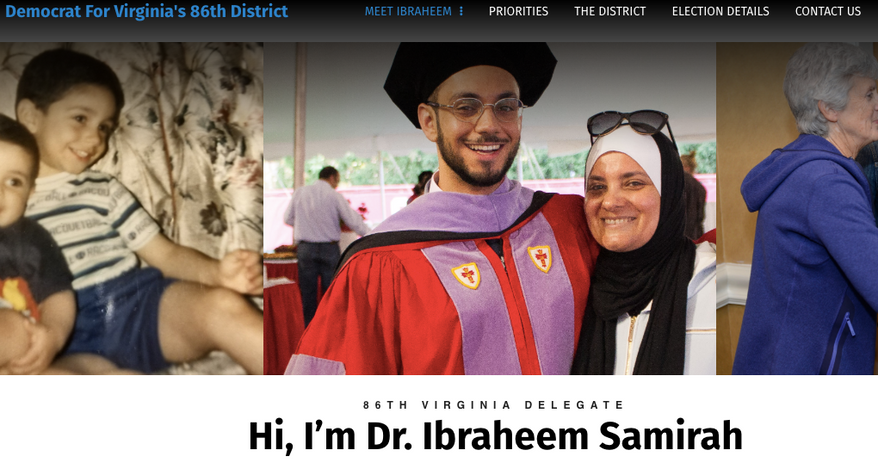 Screen capture from the official campaign website for Dr. Ibraheem Samirah, a Democrat running for the Virginia House of Delegates in a special election to be held on Feb. 19, 2019. (https://samirah4delegate.com/biography/)