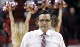 Nebraska coach Tim Miles walks off the court following an NCAA college basketball game against Maryland in Lincoln, Neb., Wednesday, Feb. 6, 2019. Maryland won 60-45. (AP Photo/Nati Harnik)