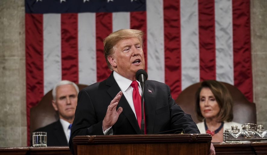 In this Feb. 5, 2019, photo, President Donald Trump gives his State of the Union address to a joint session of Congress at the Capitol in Washington, as Vice President Mike Pence, left, and House Speaker Nancy Pelosi listen. (Doug Mills/The New York Times via AP, Pool) **FILE**