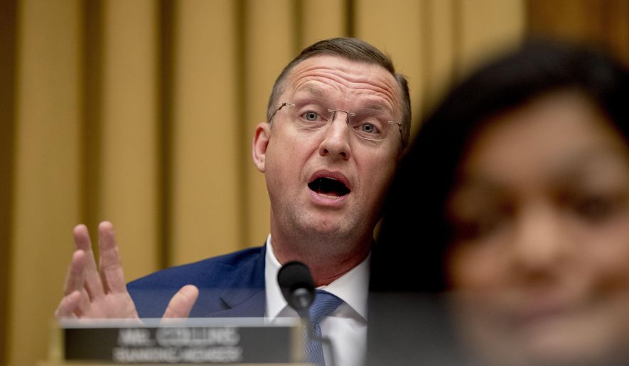 "Judiciary Committee Ranking Member Rep. Doug Collins, R-Ga., questions Acting Attorney General Matthew Whitaker as he appears before the House Judiciary Committee on Capitol Hill, Friday, Feb. 8, 2019, in Washington. Whitaker insisted on Friday that he has not ""interfered in any way"" in the special counsel's Russia investigation as he faced a contentious and partisan congressional hearing in his waning days on the job.  (AP Photo/Andrew Harnik)"