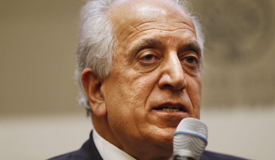 Special Representative for Afghanistan Reconciliation Zalmay Khalilzad speaks on the prospects for peace, Friday, Feb. 8, 2019, at the U.S. Institute of Peace, in Washington. (AP Photo/Jacquelyn Martin) **FILE**