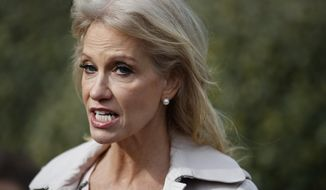 FILE - In this Jan. 23, 2019 file photo, White House senior adviser Kellyanne Conway talks with reporters outside the White House in Washington. Conway says she was grabbed and shaken by a woman at a Mexican restaurant in Bethesda, Maryland, late last year.  (AP Photo/ Evan Vucci)
