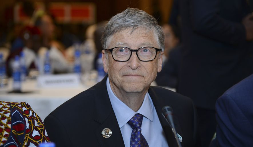 "Bill Gates, chairman of the Bill & Melinda Gates Foundation, attends the ""Africa Leadership Meeting - Investing in Health Outcomes"" held at a hotel in Addis Ababa, Ethiopia Saturday, Feb. 9, 2019. The meeting, which took place ahead of the 32nd African Union Summit, was ""to launch a new initiative designed to help deliver increased, sustained and more impactful financing for health across Africa"", according to the African Union. (AP Photo/Samuel Habtab)"