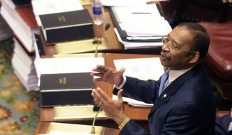 In this June 24, 2011, file photo, Sen. Ruben Diaz Sr., D-Soundview, speaks during a session of the New York state Senate at the Capitol in Albany, N.Y. (AP Photo/Hans Pennink, File)