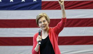 FILE - In this Jan. 12, 2019, file photo, Sen. Elizabeth Warren, D-Mass., speaks during an organizing event at Manchester Community College in Manchester, N.H. Warren is expected to formally launch her presidential bid on Saturday with a populist call to fight economic inequality. (AP Photo/Michael Dwyer, File)