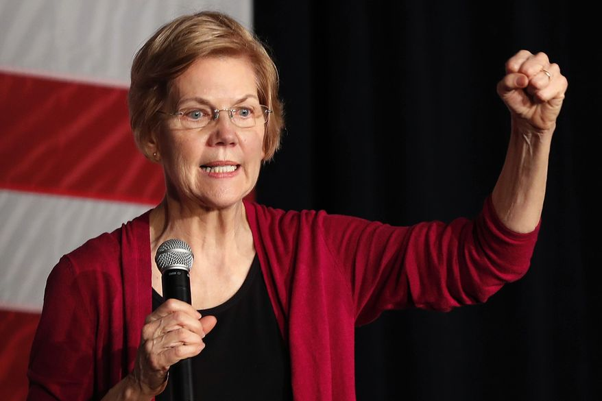 FILE - In this Saturday, Jan. 5, 2019, file photo, Sen. Elizabeth Warren, D-Mass., speaks during an organizing event at Curate event space in Des Moines, Iowa. (AP Photo/Matthew Putney, File)