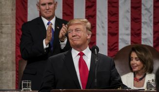 In this Feb. 5, 2019 photo, President Donald Trump gives his State of the Union address to a joint session of Congress, at the Capitol in Washington, as Vice President Mike Pence, left, and House Speaker Nancy Pelosi look on.  In Trump's estimation, the good times began to roll for the country on the night he was elected. So he doesn't hesitate to swipe job growth from the twilight of the Obama administration and claim it as his own.  (Doug Mills/The New York Times via AP, Pool)