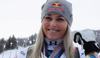 The United States' Lindsey Vonn won the bronze medal in the world championship downhill on Sunday just three months after tearing a ligament in her left knee. (ASSOCIATED PRESS)