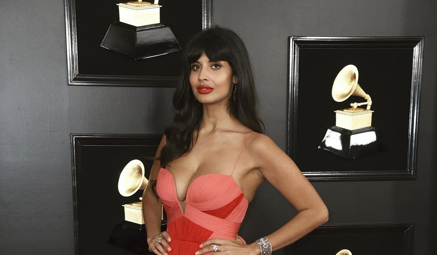 Jameela Jamil arrives at the 61st annual Grammy Awards at the Staples Center on Sunday, Feb. 10, 2019, in Los Angeles. (Photo by Jordan Strauss/Invision/AP)